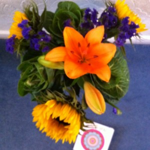 thank you flowers and card