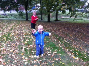 joyful nephews collecting leaves