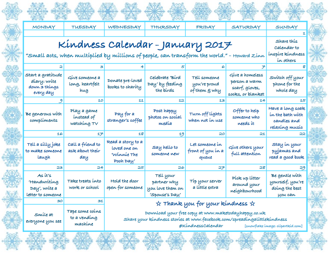 Kindness Calendar January 2017