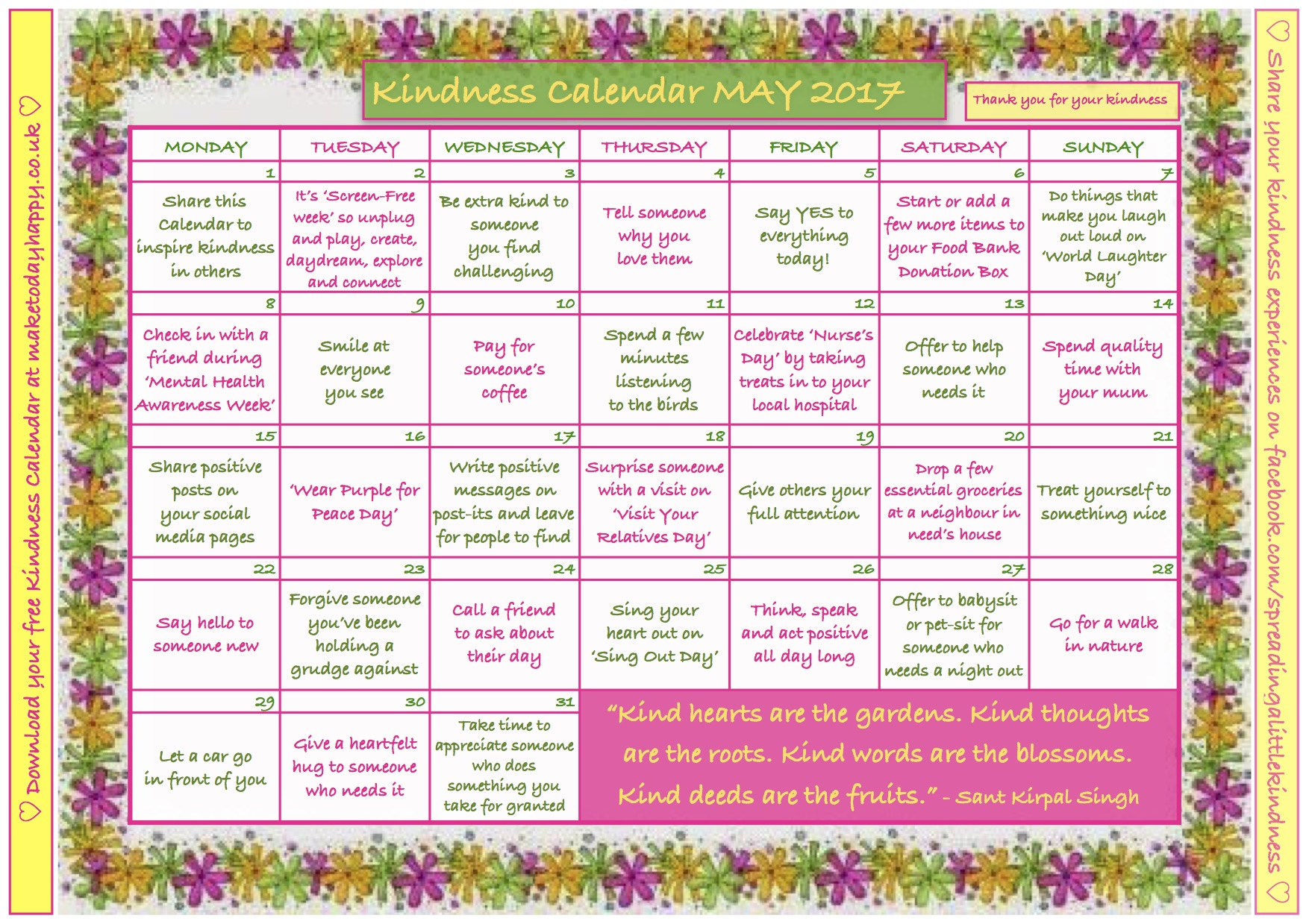 Kindness Calendar May 2017