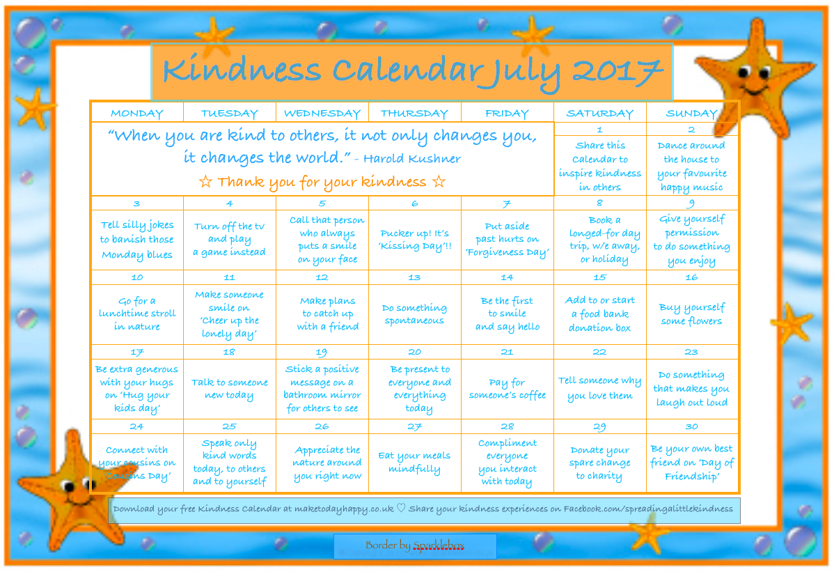 Kindness Calendar July 2017
