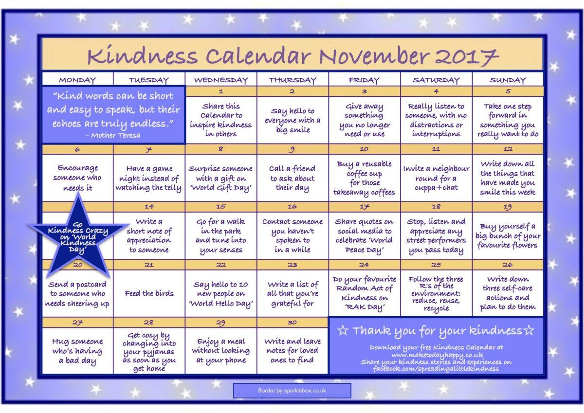 Kindness Calendar: November 2017