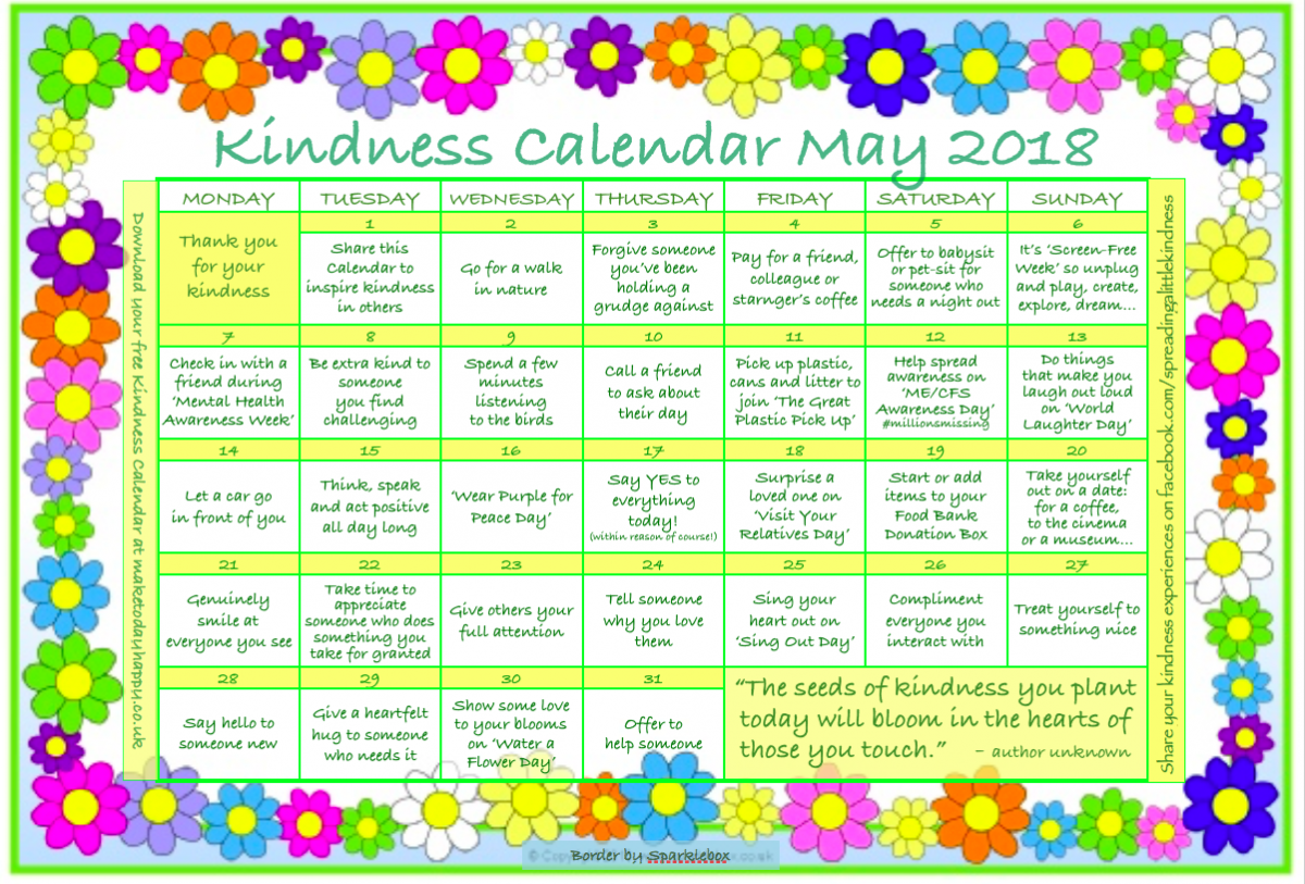 Kindness Calendar: May 2018