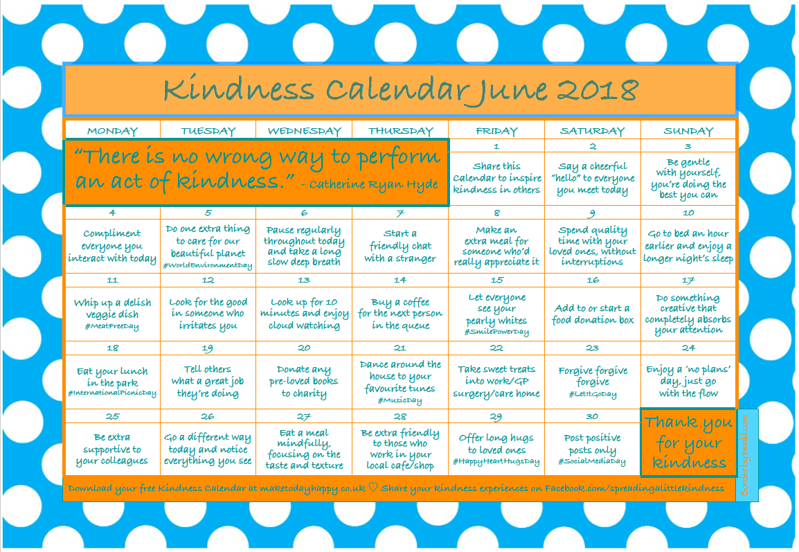 Kindness Calendar: June 2018