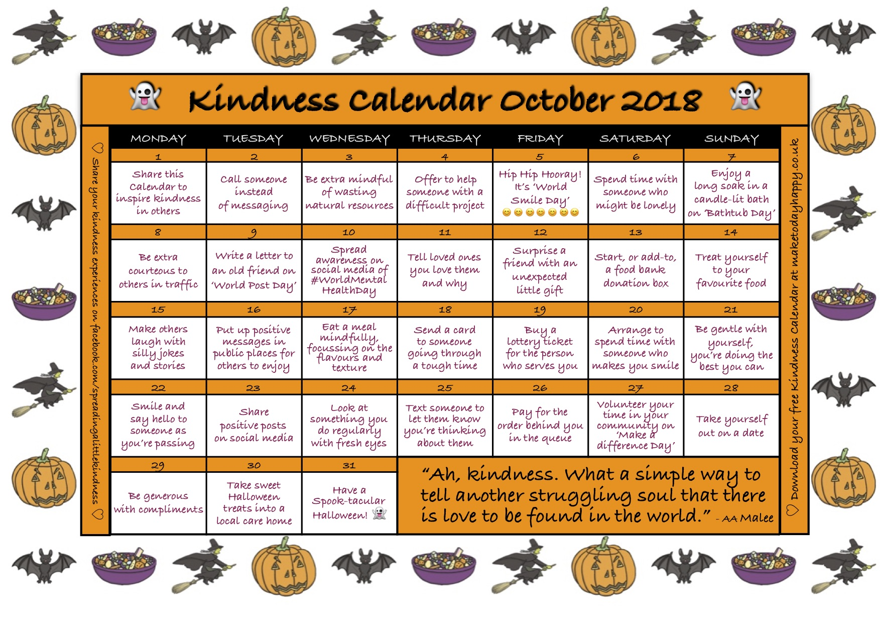 Kindness Calendar October 2018