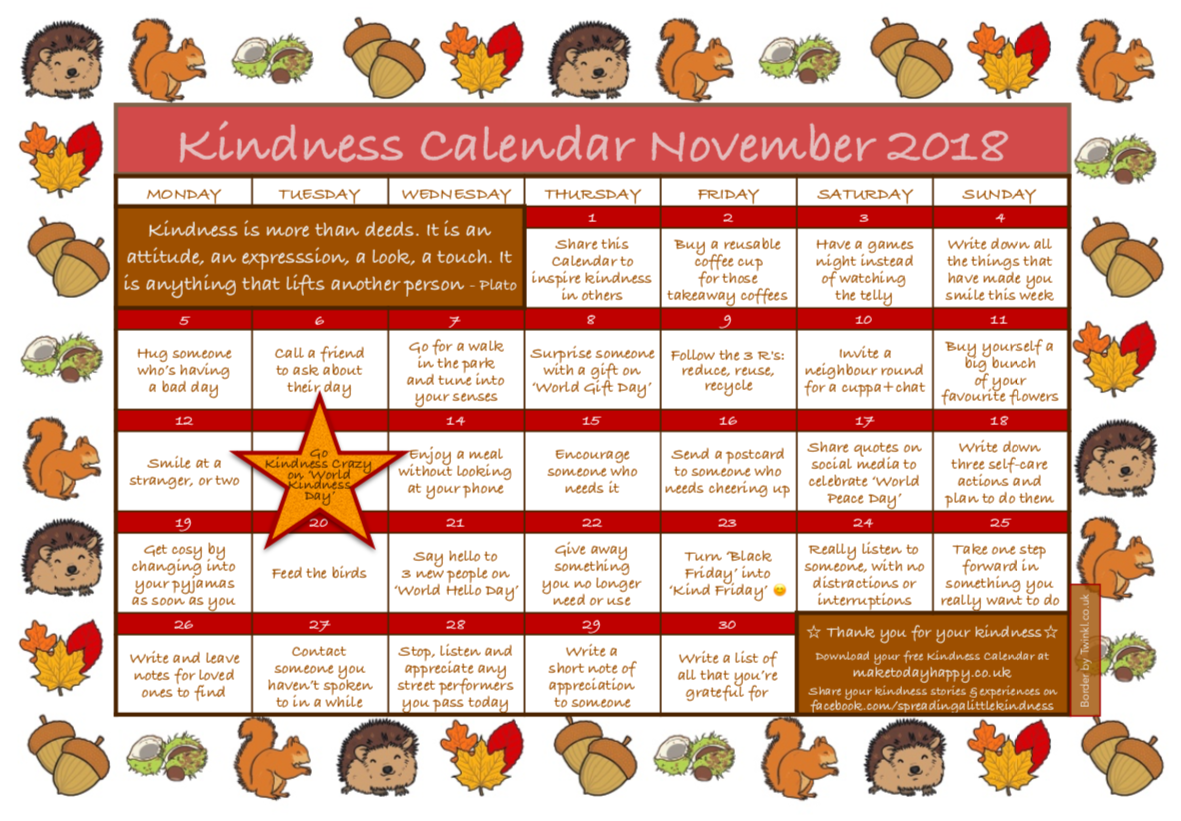 Kindness Calendar November 2018