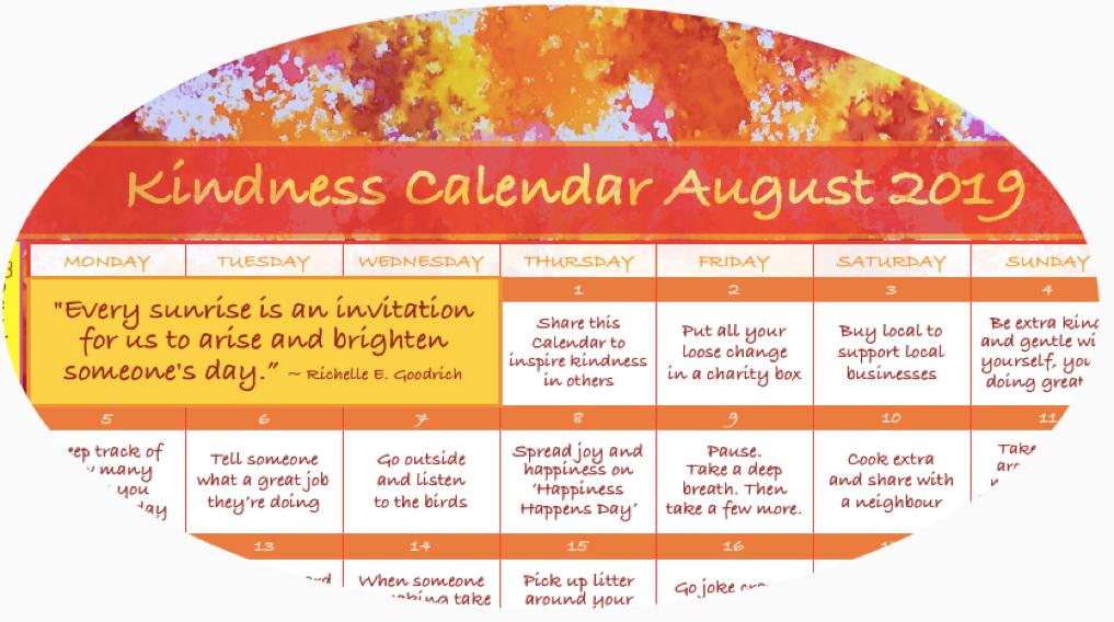 Kindness Calendar August 2019 CIRCLE